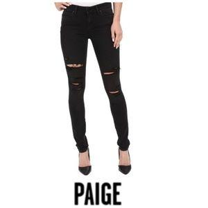 PAIGE Jeans Black Distressed Verdugo Ultra Skinny